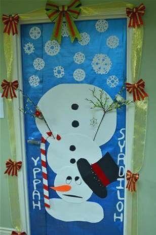 Upside Down Snowman Christmas Door Decorating Contest