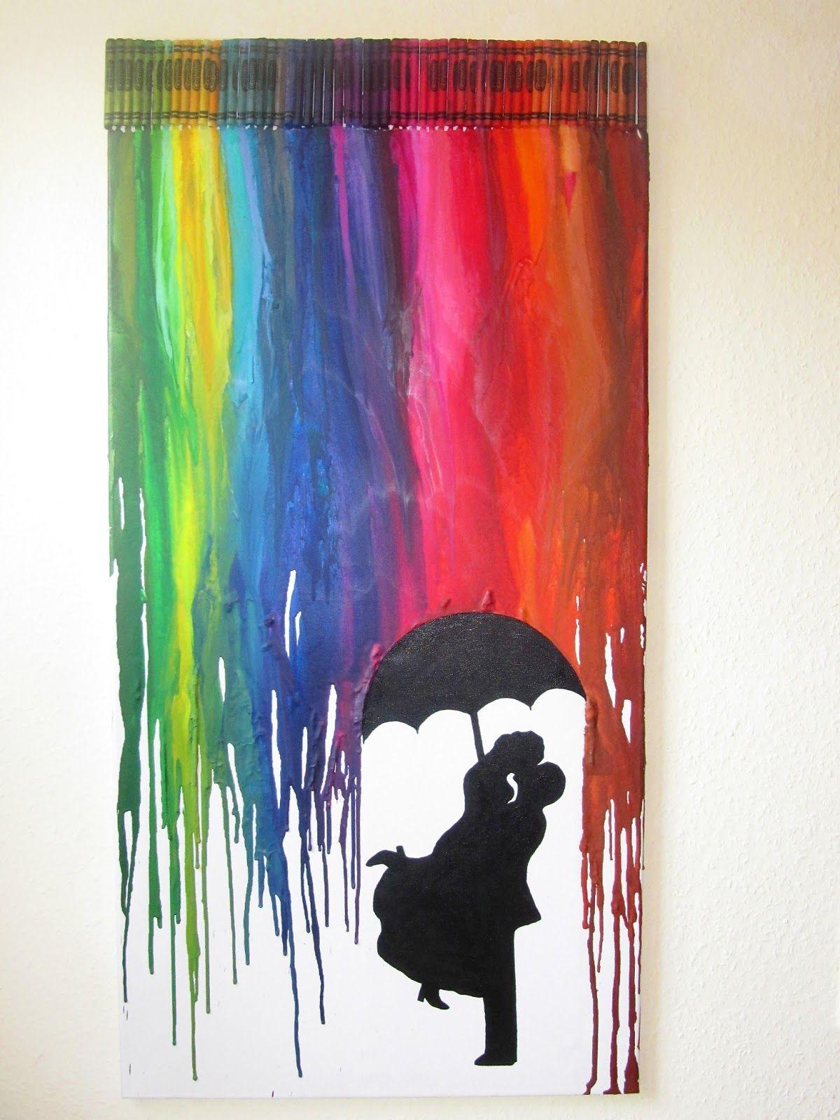 crayon art, kunst aus wachsmalstiften, föhn, schmelzen, regenschirm