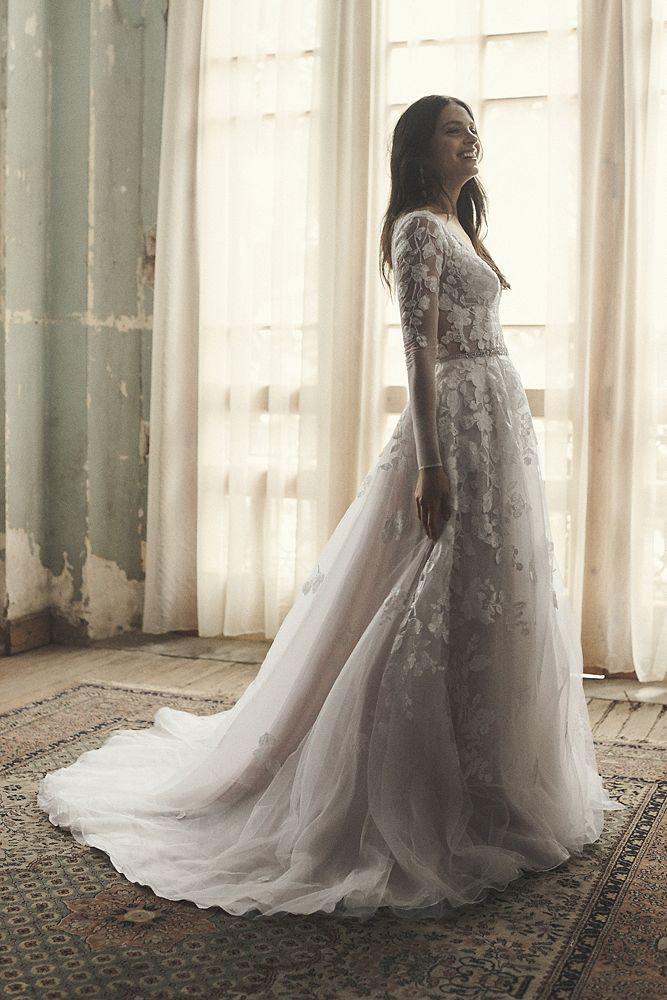 Illusion Sleeve Plunging Ball Gown Wedding Dress Style Swg820
