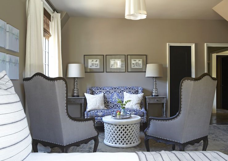 Bedrooms Benjamin Moore Ashley Gray Barbara Barry Simple Scallop Pendant Taupe Walls Blue Wingback Settee Living Room Grey Modern Room Taupe Living Room #taupe #walls #living #room