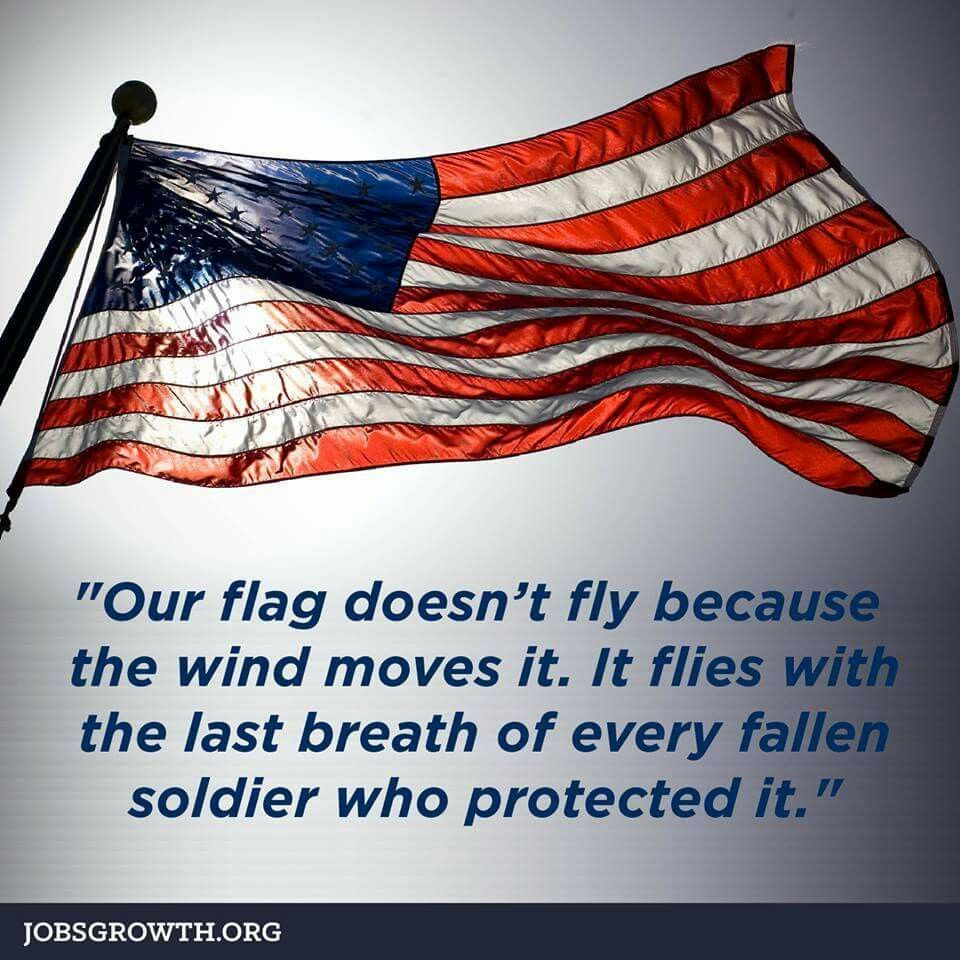 Our Flag Doesn T Fly Because The Wind Moves It It Flies With The Last Breath Of Every Fallen Soldier Who Pr Little Things Quotes Fallen Soldier Military Love