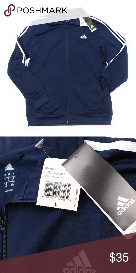 c4bbf30b53cb ADIDAS Essential Track Jacket Navy Blue   White New with tags. Great style  for your