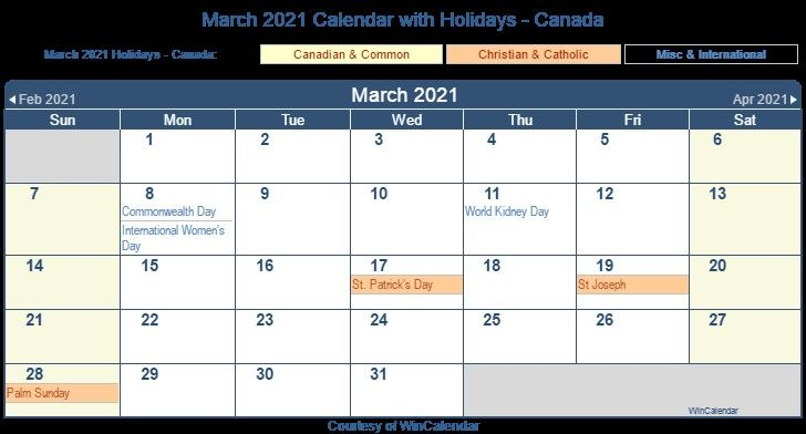 Monthly Calendar 2021 Canada for Visitors - Encouraged in ...