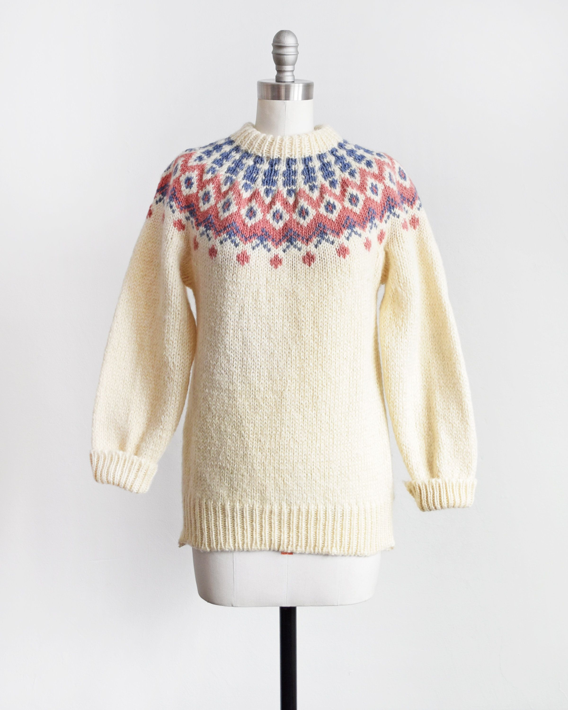 Vintage Fair Isle Sweater 80s Cream Wool Sweater Nordic Etsy Fair Isle Sweater Wool Sweaters Knitted Pullover