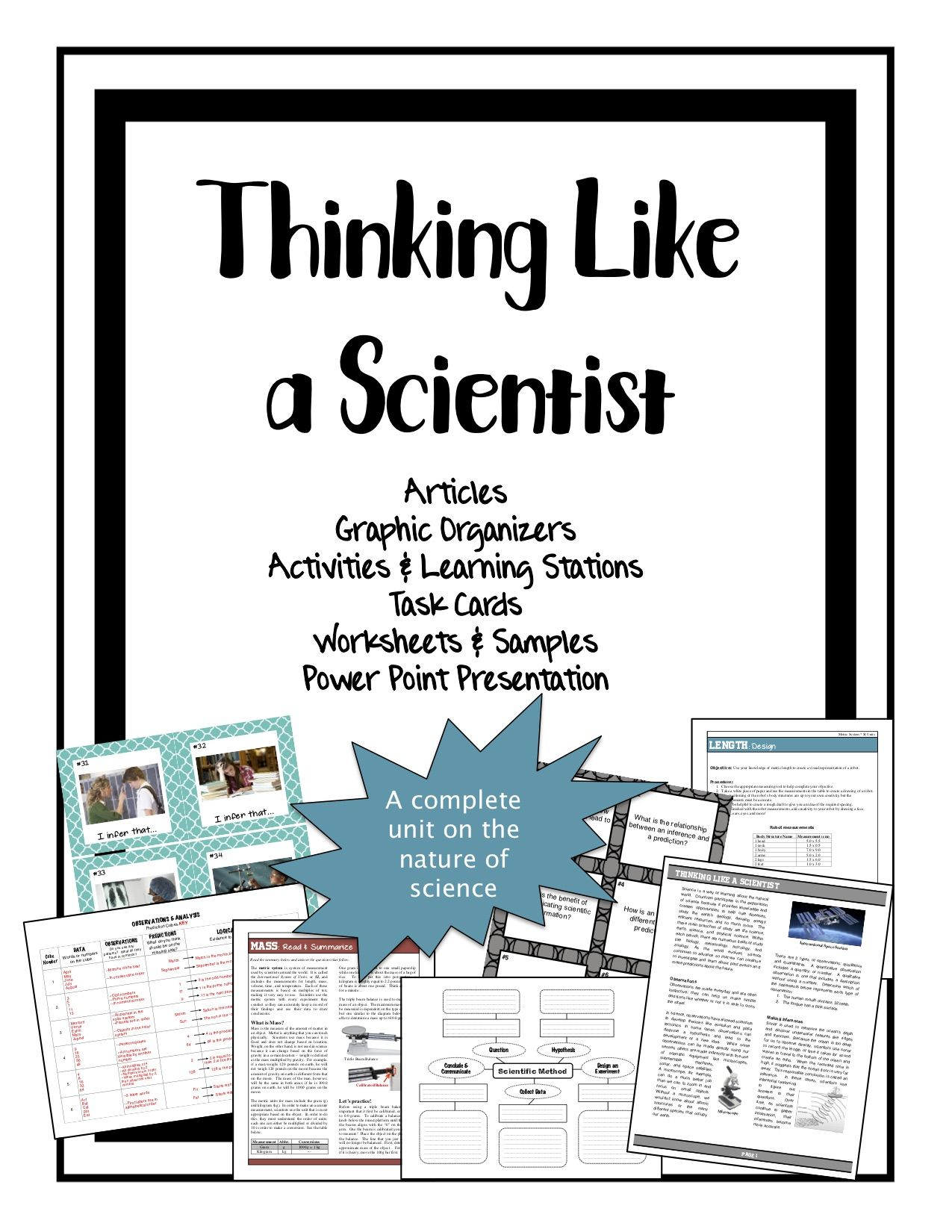 Thinking Like A Scientist Full Unit Of Activities Notes