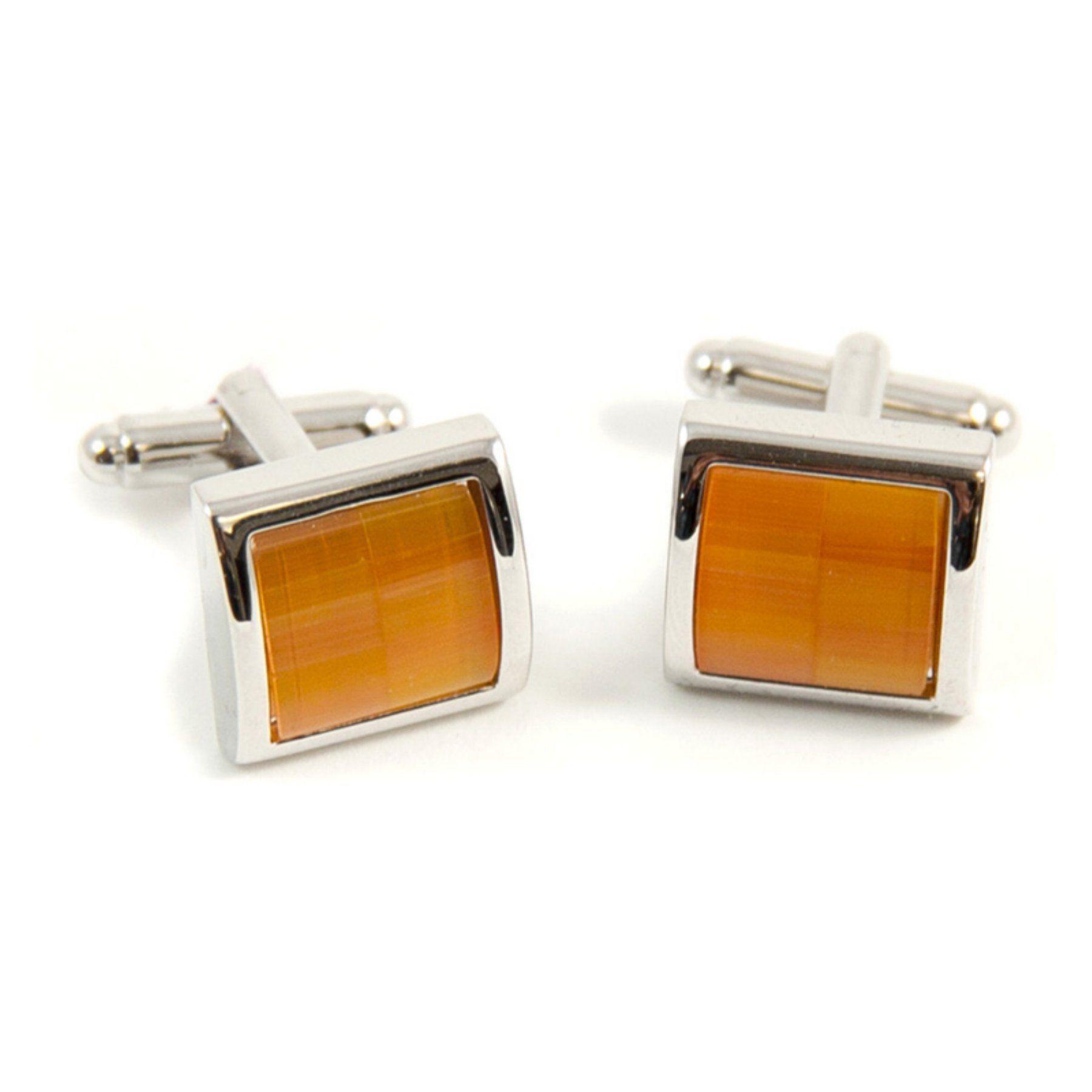 Bey-Berk Semi Precious Stone Cufflinks - Orange, Men's - J202
