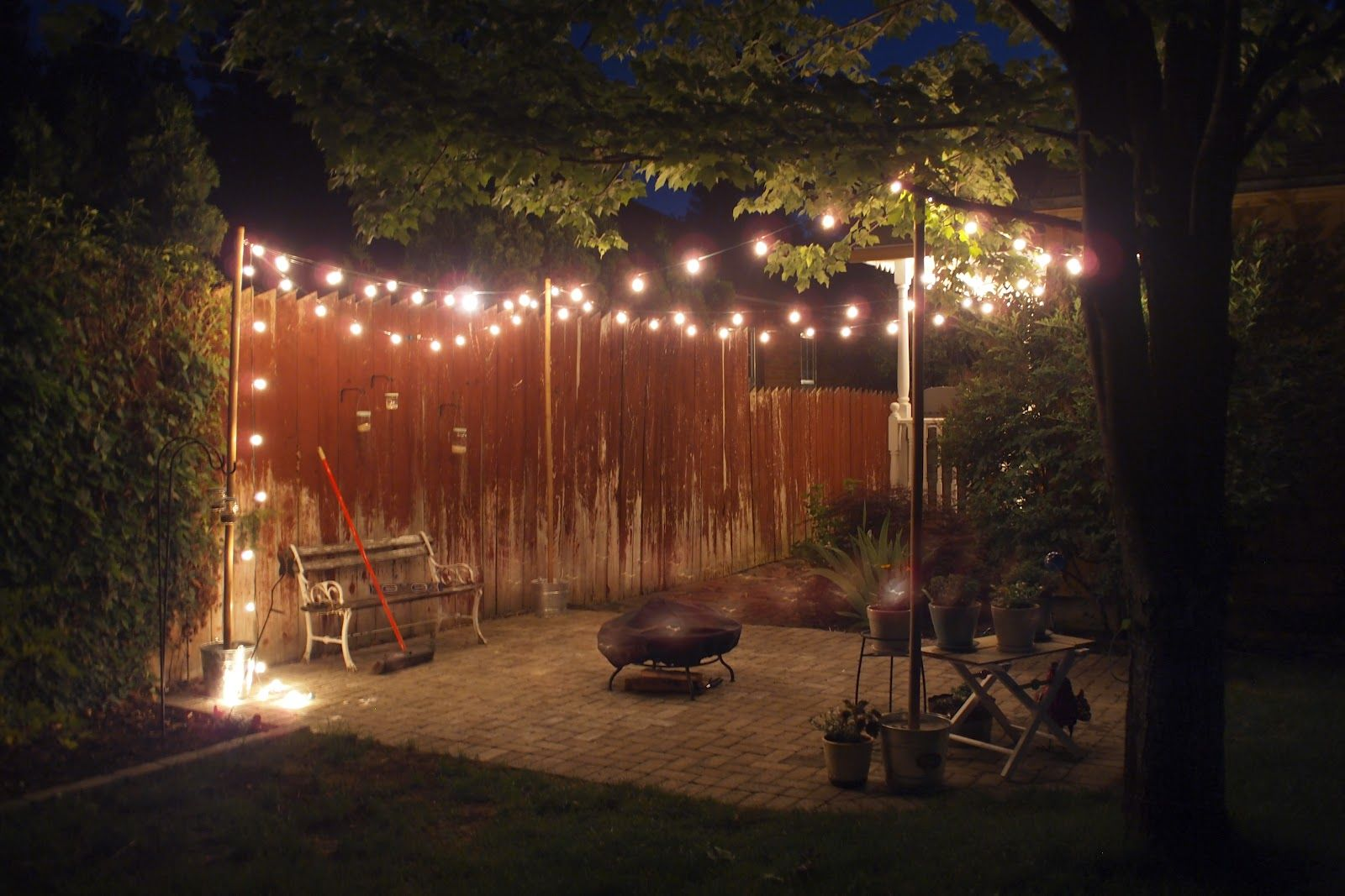 25 Socket Outdoor Patio String Light Set G50 Clear Globe Bulbs 28 Ft Black  Cord W E17 Base