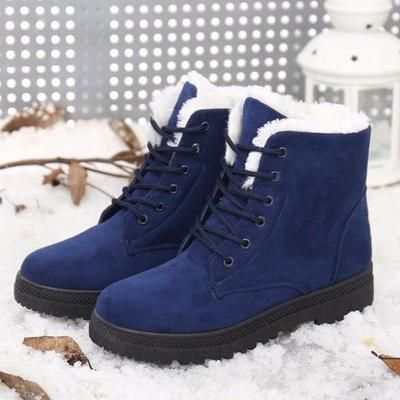 Warm Lace Up Fur Ankle Snow Boots In 2020 Fur Ankle Boots Fashionable Snow Boots Womens Boots Ankle