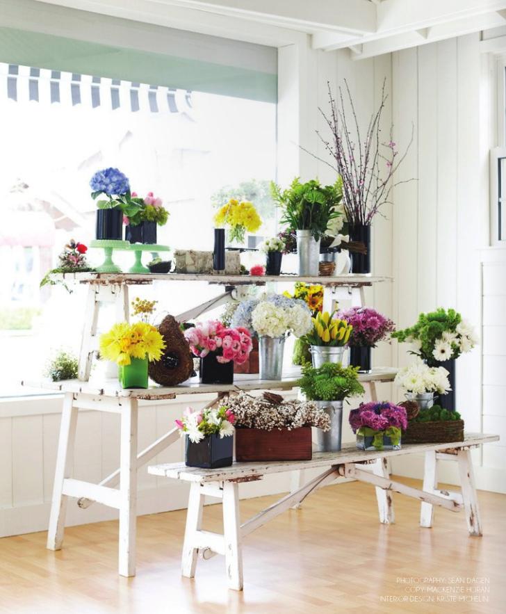 Flower Design Shop: Cool, Vintag-y Way To Display And Get Multiple Levels