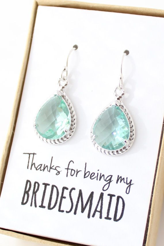 Prasiolite Green / Silver Bridesmaid Earrings  by ForTheMaids