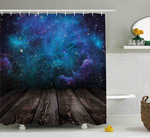 Galaxy Shower Curtain Set By Ambesonne Outer Space View From Rustic Wooden Deck Of Blue