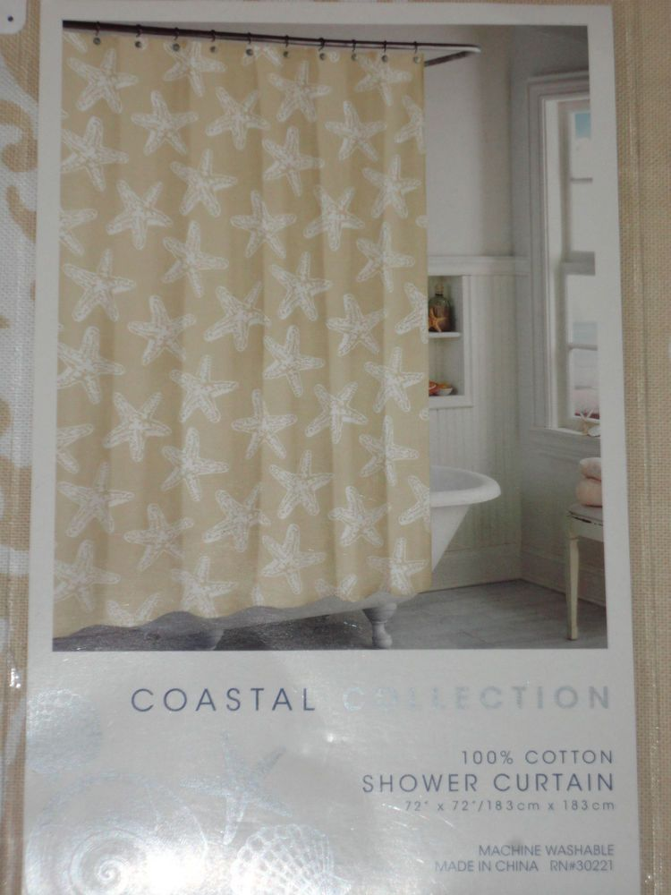 Tan White Starfish Shower Curtain New Coastal Collection Beach Sand Fabric Shower Curtains Shower Curtain Curtains