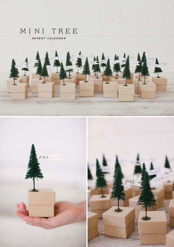 Mini Christmas Tree Advent with free printable flags / Oh Happy Day