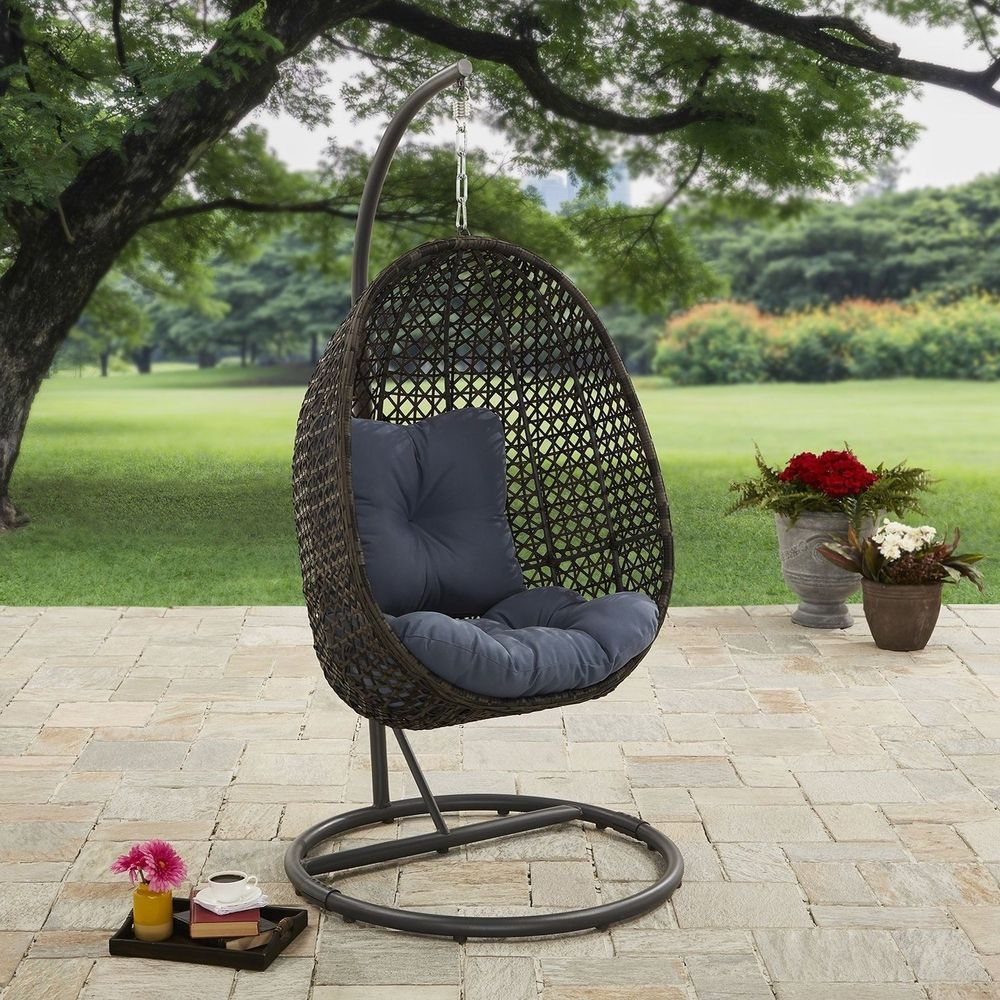 Wicker hanging chair with stand and cushion outdoor swing seat patio