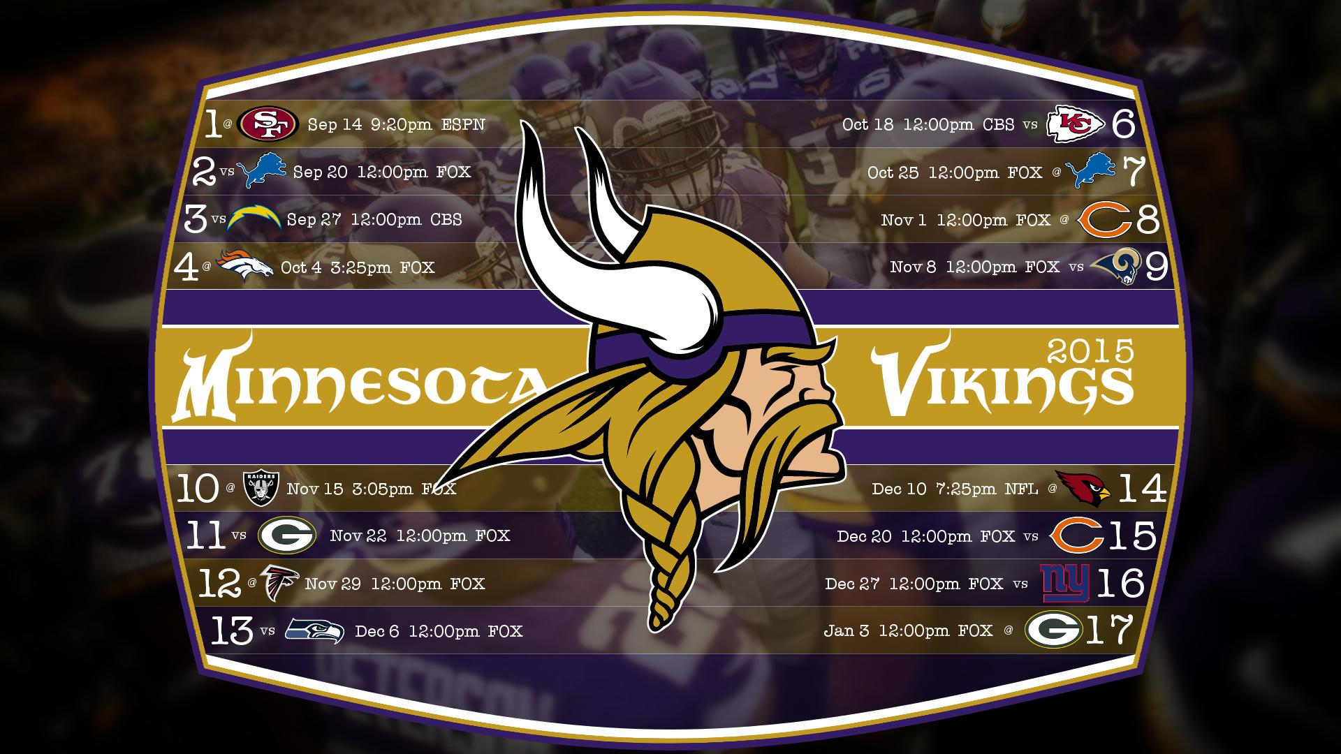 Minnesota Vikings 2015 Schedule Wallpaper CHGLand.info