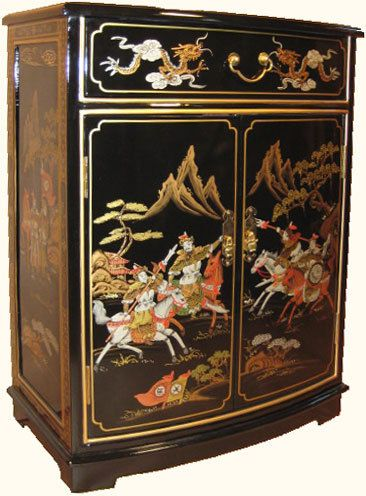 32 high Oriental Cabinet with Round Front Hand Painted Black Lacquer