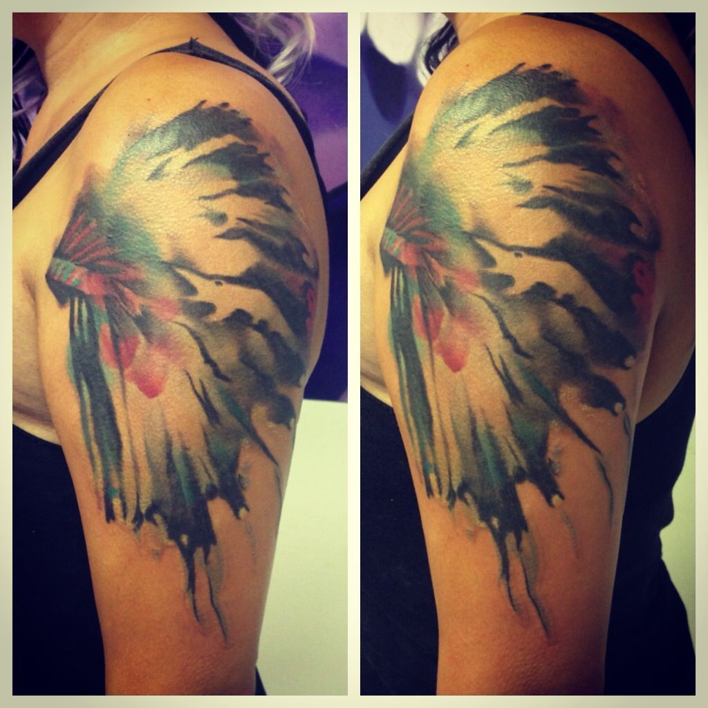 Watercolor headdress tattoo by tony carrera at pen and ink for Tattoos in tulsa