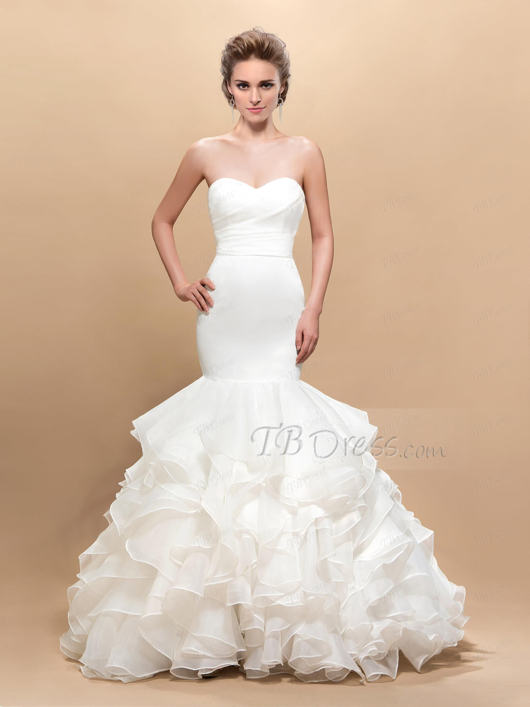 Sweetheart strapless wedding dress  Sweetheart Trumpet Pleats FloorLength Wedding Dress  Trumpets