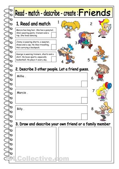 Read Match Describe Create Friends 4 School Pinterest