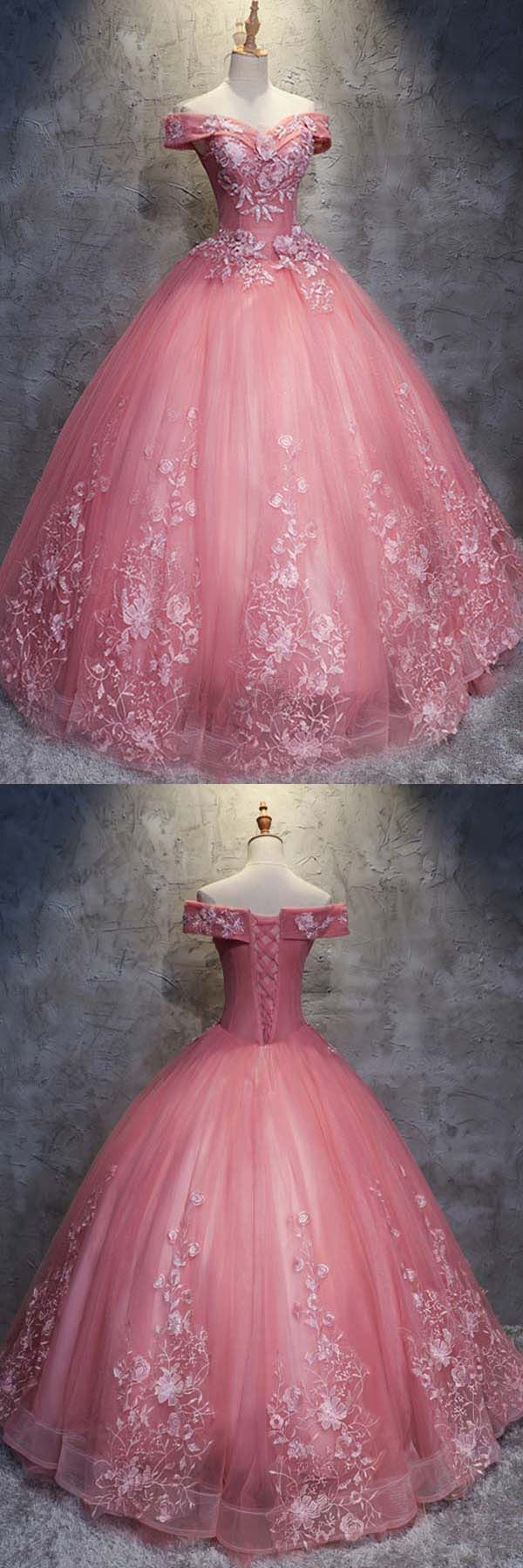 Ballkleid Off-the-Schulter Tüll Brautkleid mit Applikationen WD196 #promdress # ...  #applikationen #ballkleid #brautkleid #promdress #schulter #wd196 #tulleballgown