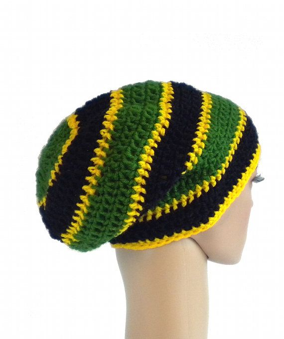Jamaica Beanie Dreadlock Rasta Tam Slouchy Crochet Boho Hat By