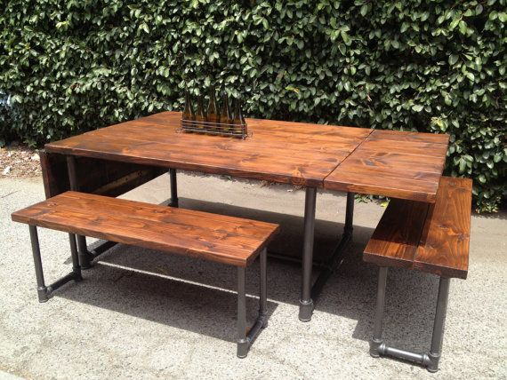 Handmade Wood And Galvanized Pipe Drop Leaf Table Bench Set