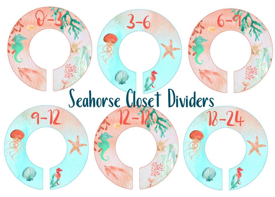 Seahorse Nursery Closet Organizer, Coral Aqua Bedroom, Clothes Dividers,  Toddler Size Ring Dividers, Day Of The Week Organizers