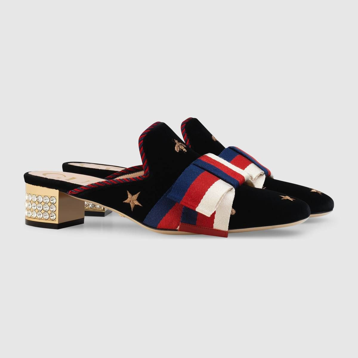 805e1ca29ea6 Embroidered velvet slide with Sylvie bow - Gucci Women s Slippers   Mules  5052859FR201212