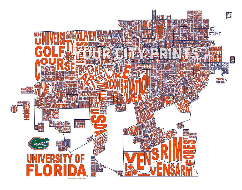 University Of Florida Map.University Of Florida Word Map Art 25 00 Via Etsy Gator Girl
