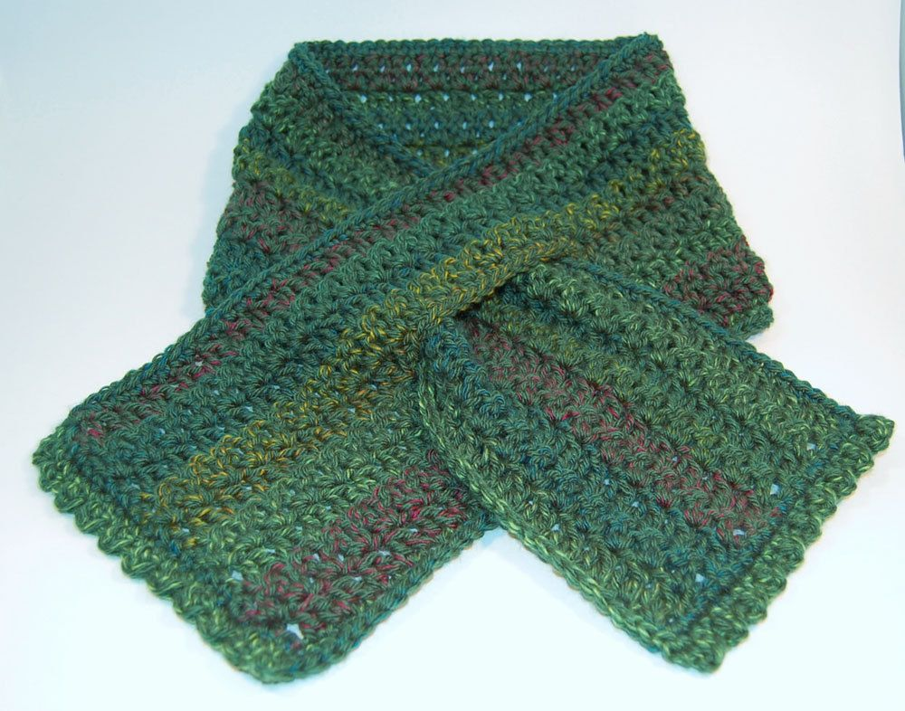 Crochet Scarf, Green, Keyhole Scarflette - Soft, Dark Moss with Subtle ... ...