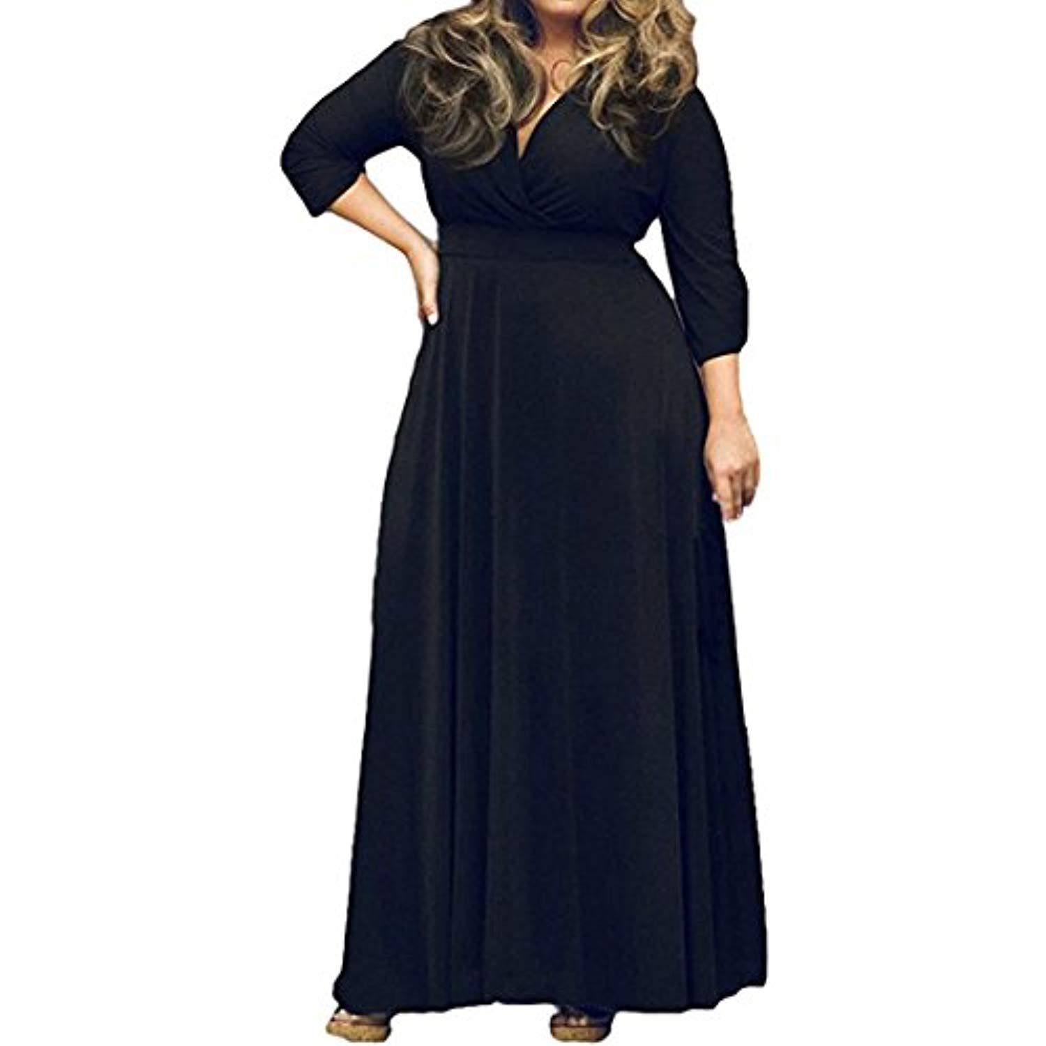 Womenus plus size maxi dress by winpe vneck solid sleeve