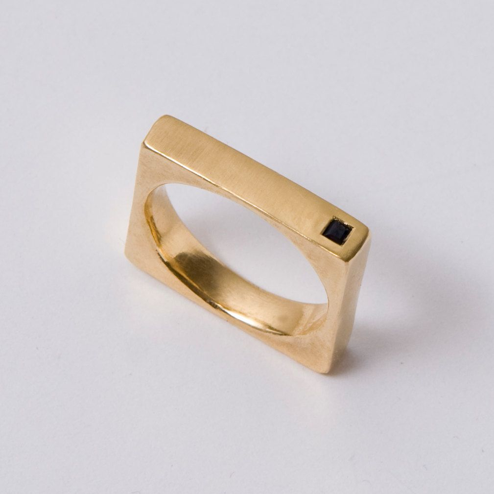 Gold Men S Band 14k And Onyx Square Uni Ring Wedding