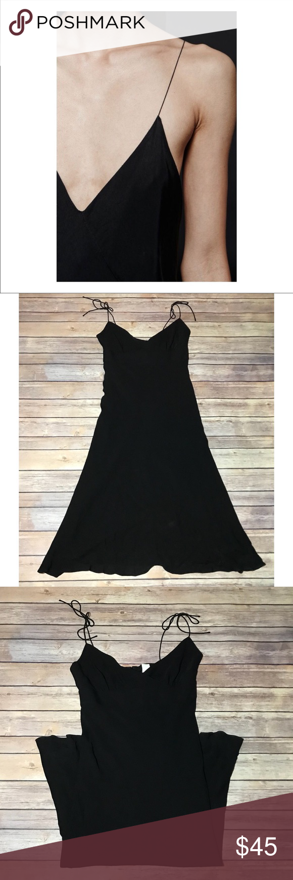J. Crew black 100% silk tie strap v-neck dress- 4 Beautiful 757cf6d6c