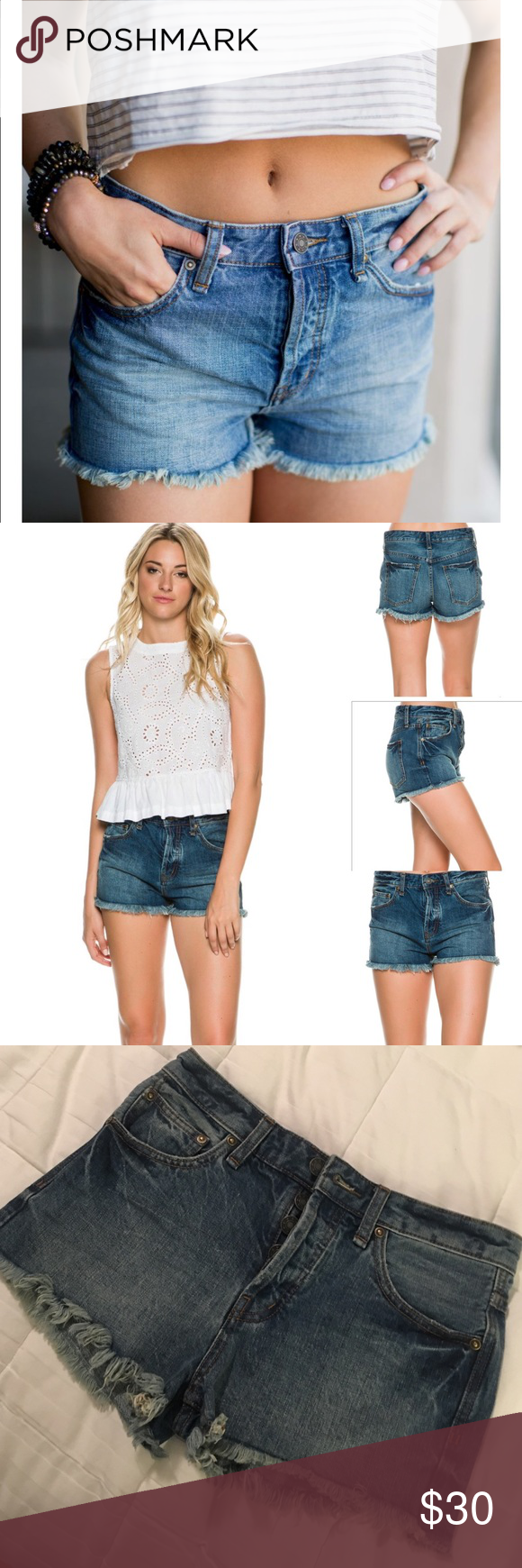 "Free people denim short * NEW without tags (never worn) * 11"" long (2"" inseam)  * Waist measures 14.5"" across  * Size 25 * Color:medium blue wash  * 100% cotton  * First photo for style inspiration and fit  * NO TRADES/No offsite transactions* Bundle 🛍for discount and save 💰on shipping 📦 Free People Shorts Jean Shorts"