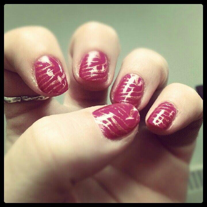 Nail Art Zebra Stripes: Purple Crush (ORLY) With Glitz (ORLY) Zebra Stripes #nails