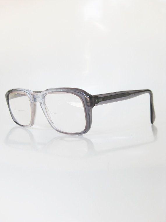 b2425aa90404 Vintage Mens Horn Rim Glasses Eyeglasses 1960s Classic Retro Geek Chic  Nerdy Mad Men Fashion Grey Charcoal Fade Clear Sixties 60s