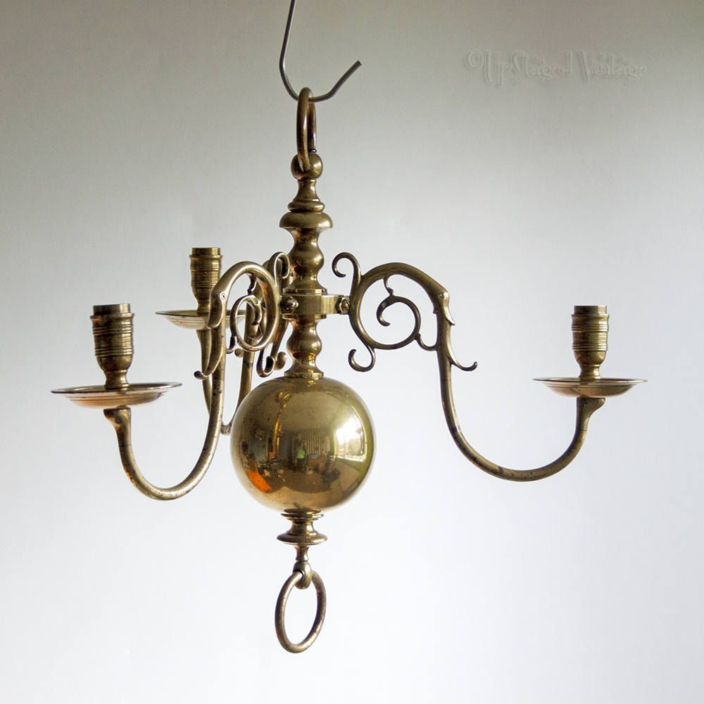 vintage brass orb light fitting 3 arm chandelier arts crafts needs wiring chandelier arms [ 1000 x 1000 Pixel ]