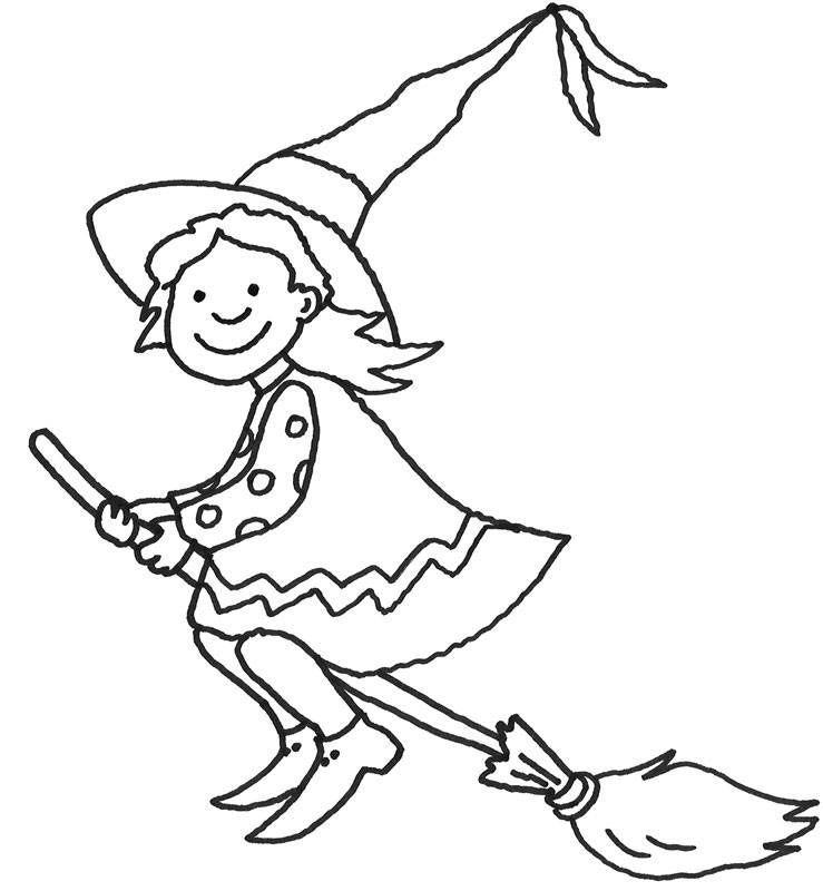 ausmalbild halloween: hexe auf ihrem besen kostenlos