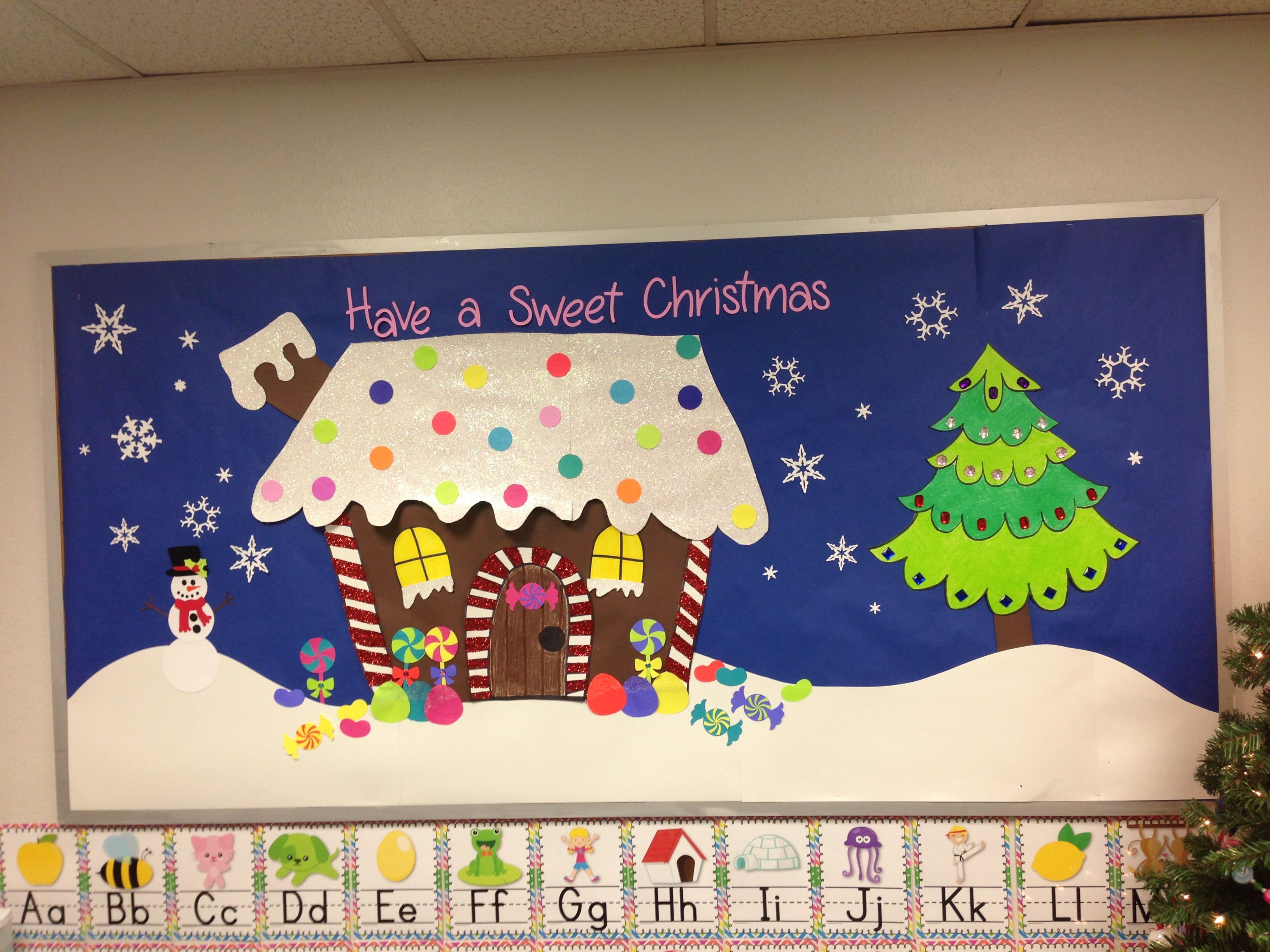 Male Classroom Decor ~ Christmas bulletin board gingerbread house