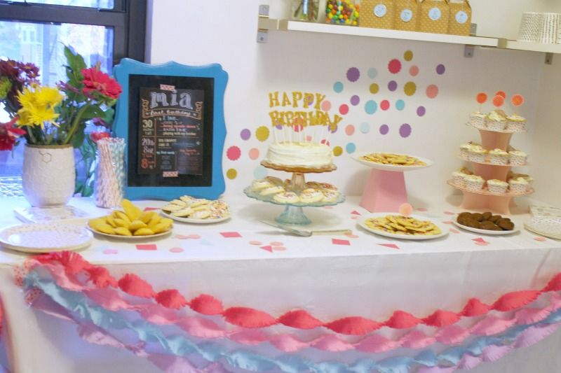 Mias First Birthday Party Birthday dessert tables Birthday