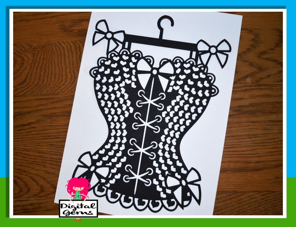 Burlesque corset paper cut svg / dxf / eps / files and pdf / png ...