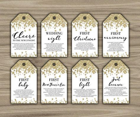 picture regarding Printable Wine Tags for Bridal Shower Gift called Milestone Wine Tags - Gold - Bridal Shower - Present Basket