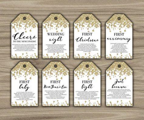 photo regarding Printable Wine Tags for Bridal Shower Gift titled Milestone Wine Tags - Gold - Bridal Shower - Reward Basket