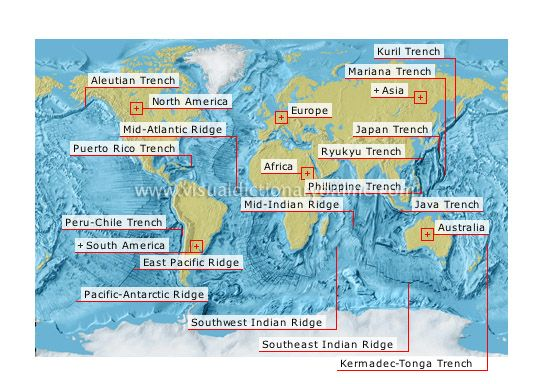 Ocean trenches and ridges image (Puerto Rica have the deepest depth - copy world map with ocean trenches