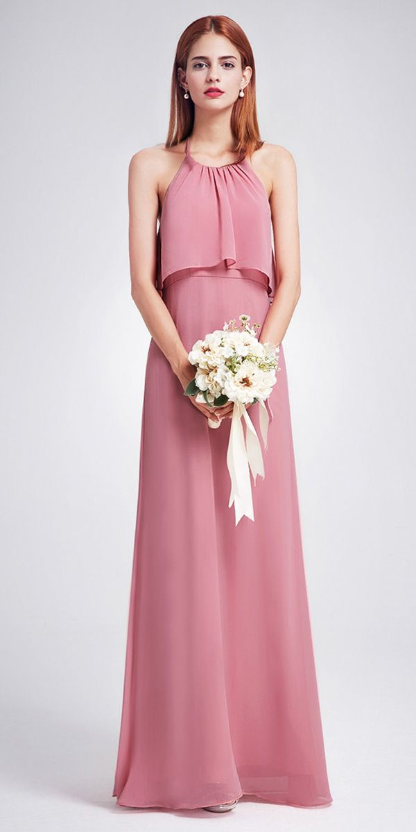 In Stock Sweet Chiffon Halter Neckline Backless A-line Bridesmaid ...