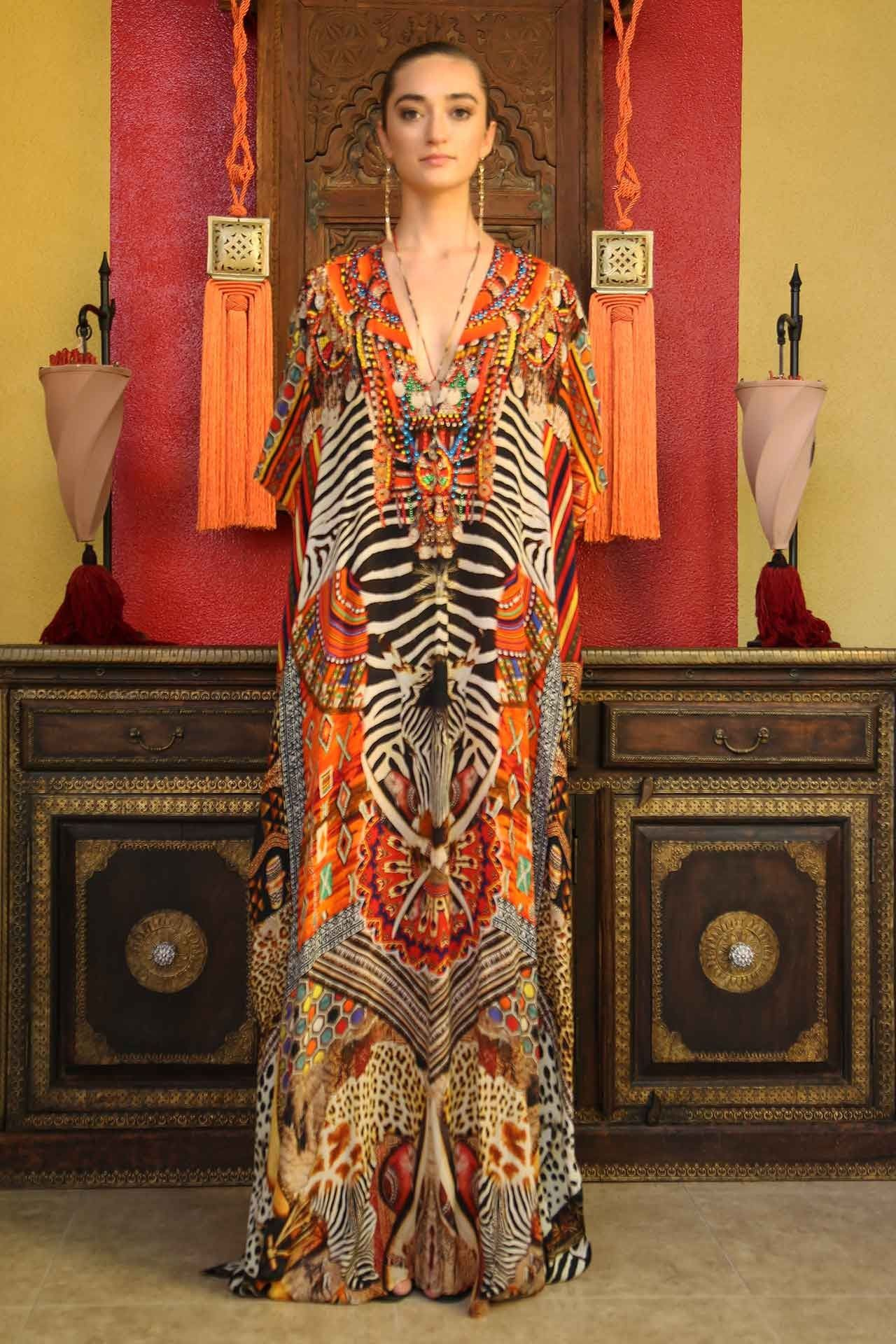 Orange tribal print kaftan dress Платья pinterest silk kaftan