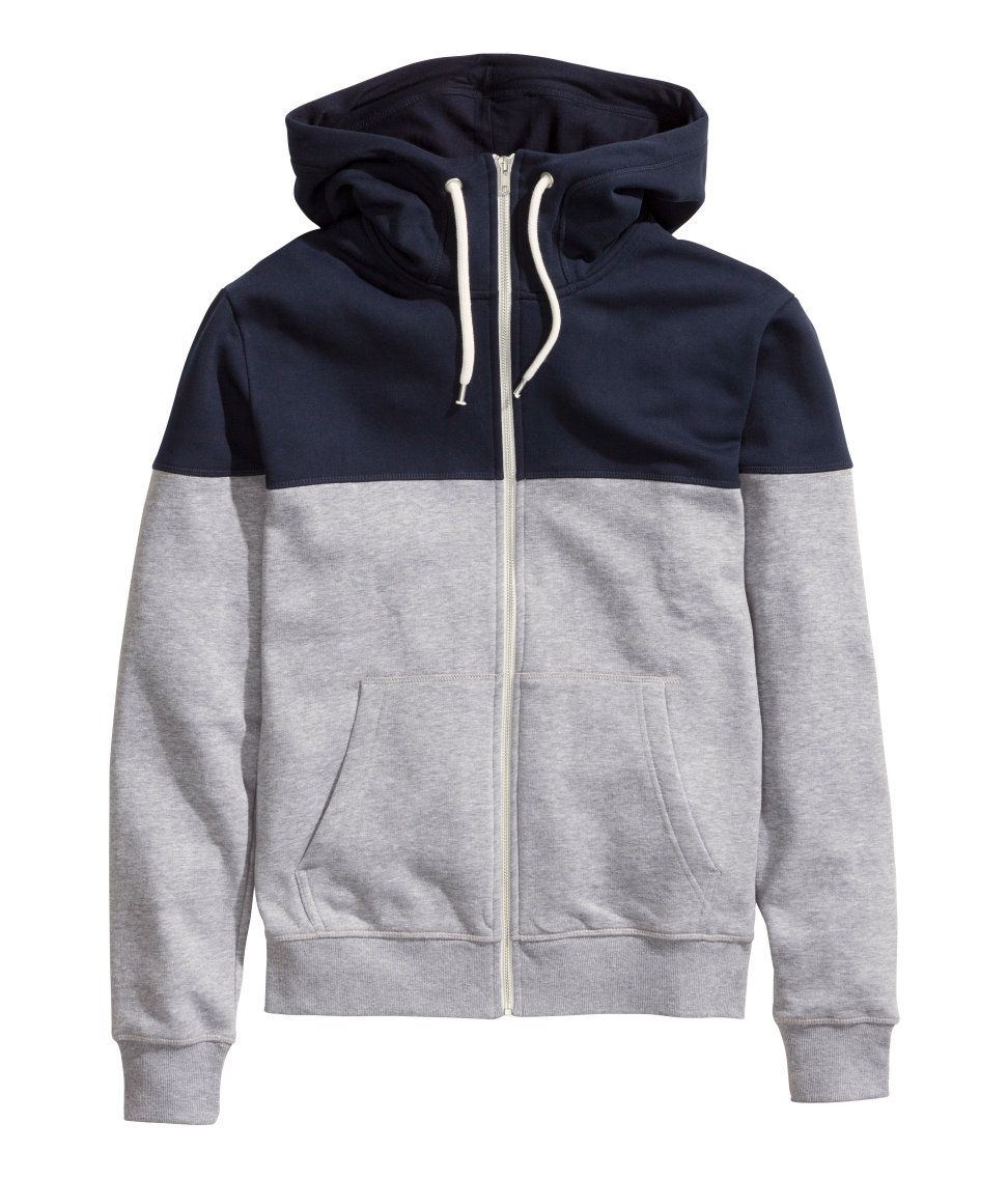 Gray hoodie with contrasting blue yoke, lined drawstring hood, and side  pockets.│