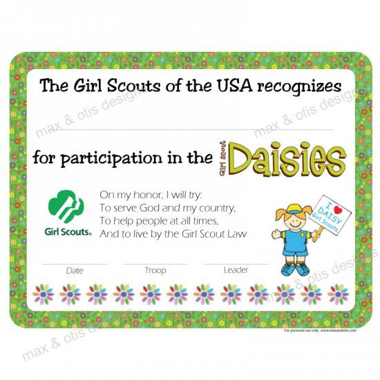 girl scout award certificate templates - girl scout daisy investiture certificate editable pdf