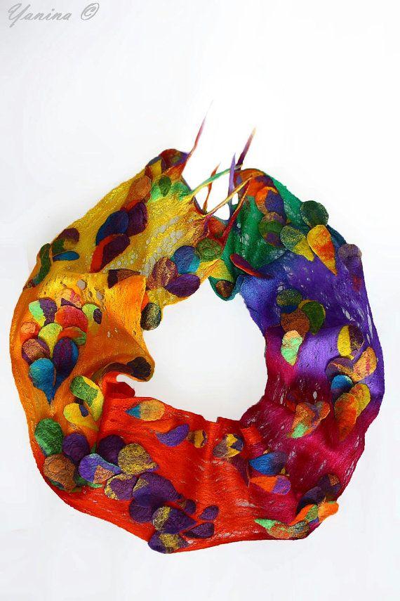 Felted scarf beautifully textured cobweb felt от SeamlessFashion
