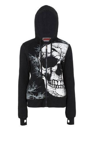 Black Gothic Hoodie Skull Night zip